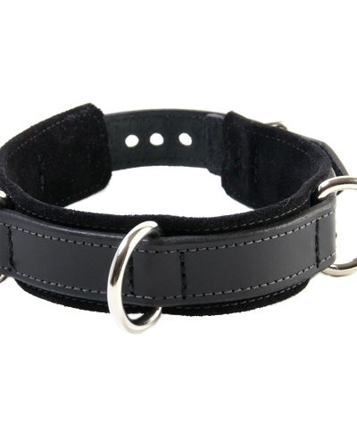3-D Ring Leather Slave Collar Black