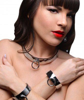 Chrome Slave Collar And Cuffs Model