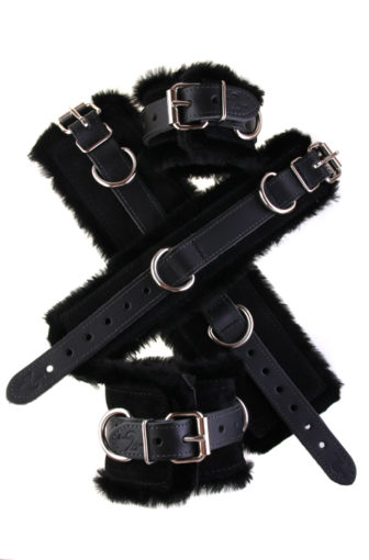 Faux Fir Bondage Cuffs Black