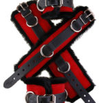 Faux Fir Bondage Cuffs Red