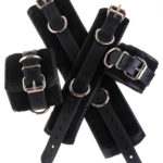 Padded Leather Bondage Cuffs Black