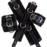 Padded Leather Bondage Cuffs Black