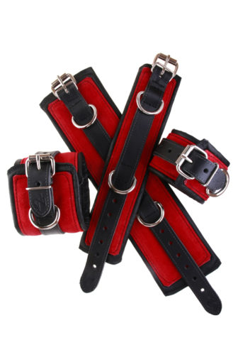 Padded Leather Bondage Cuffs Red