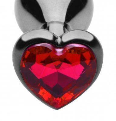 Scarlet Heart Jeweled Anal Plug Close Up