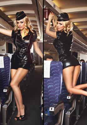 Black Stewardess Costume Back View