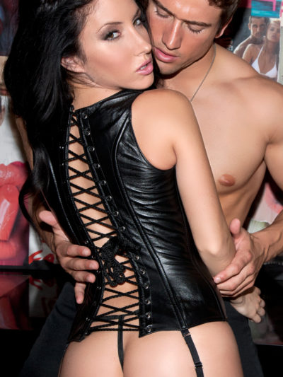 High Back Leather Corset With Model Back View