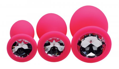 3 piece silicone anal plugs with gems shown pink