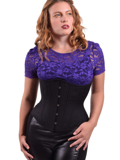 midnight cashmere corset with model