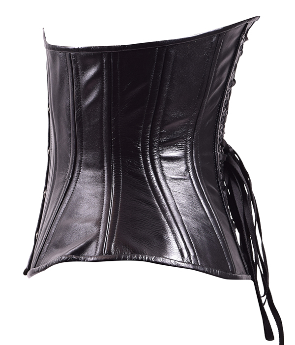 midnight leather corset side view