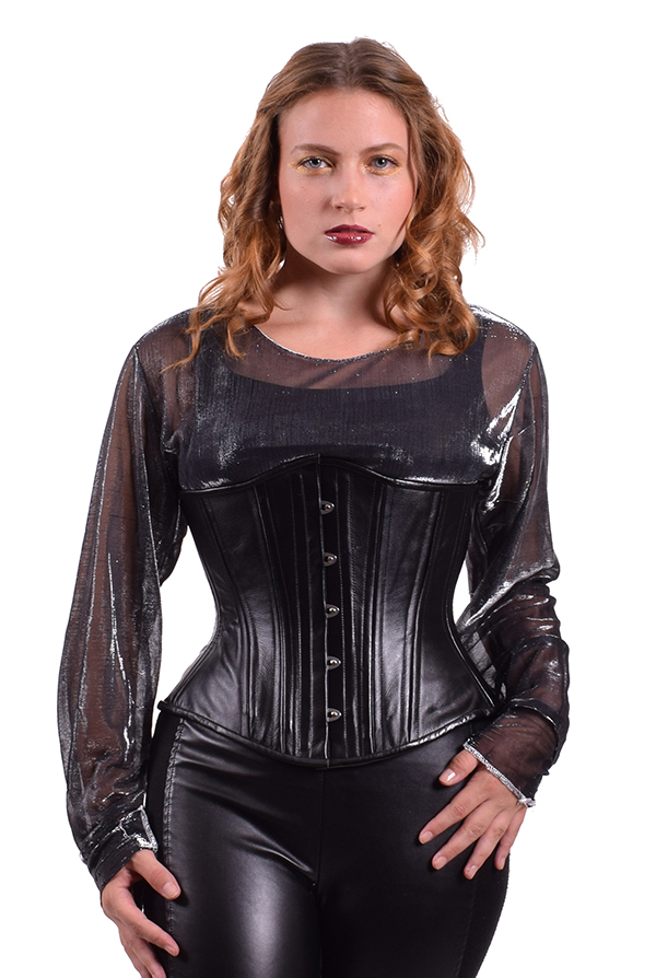 midnight leather corset with model