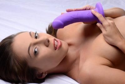 premium silicone dildo with model