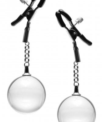 Weighted Glass Orb Adjustable Nipple Clamps