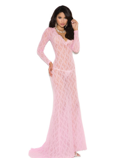 Deep V Lace Gown Pink