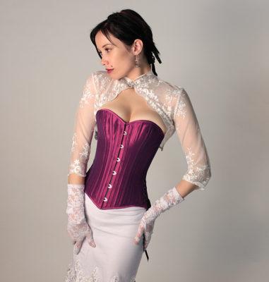 Elegant Purple Corset With Model