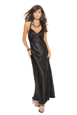 Sexy Satin Gown Black