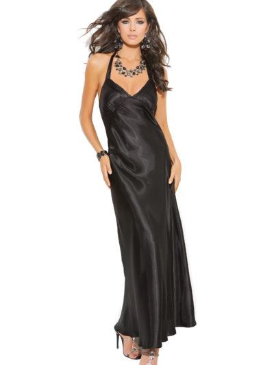 Sexy Satin Gown Black