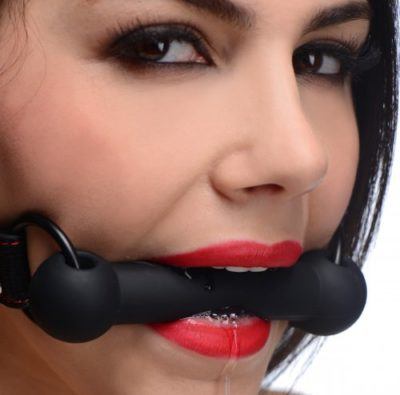 Red & Black Silicone Bit Gag Demo
