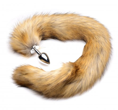 Brown Mink Tail Anal Plug Curled