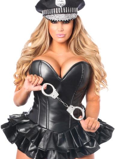 Bad Cop Premium Corset Costume Close Up
