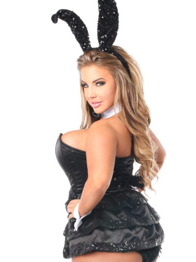 Black Sequin Tuxedo Bunny Costume Close Up Queen Back