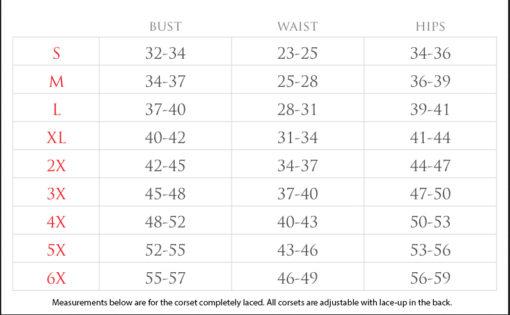 DC Corset Size Chart