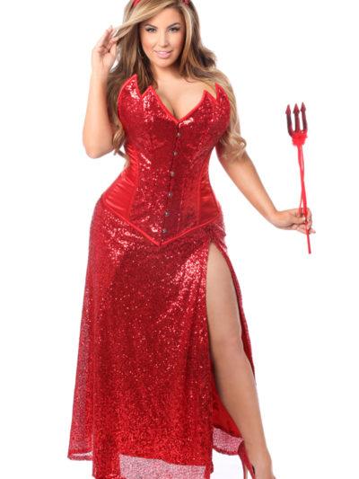 Devil Long Premium Corset Dress Costume