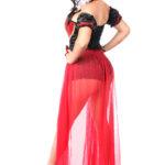 Fairytale Red Queen Premium Corset Costume Back