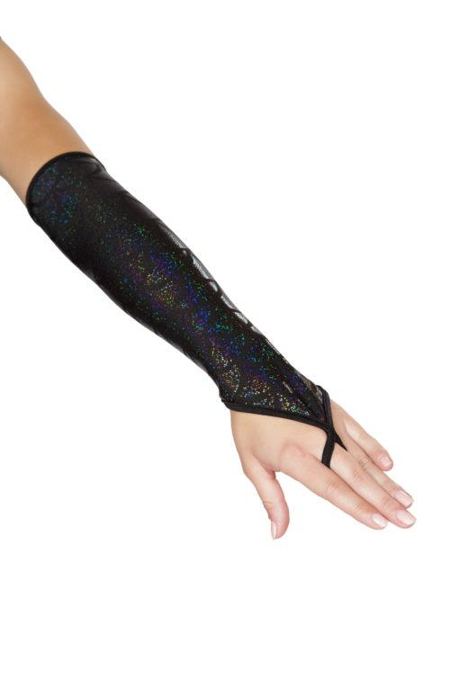 Fingerless Elbow Length Mermaid Gloves Black