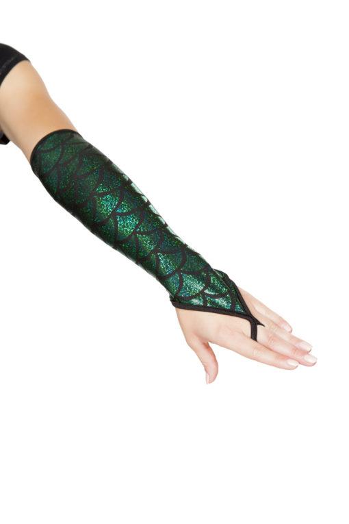 Fingerless Elbow Length Mermaid Gloves Hunter Green