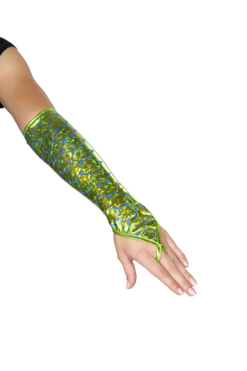 Fingerless Elbow Length Mermaid Gloves Sea Foam Green