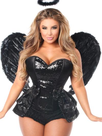 Midnight Angel Premium Corset Costume Close Up