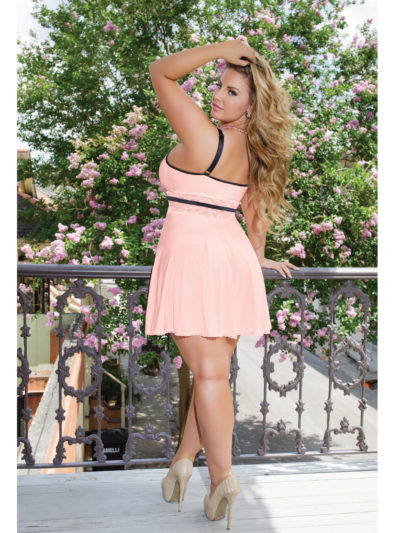 Peach Microfiber & Lace Babydoll Queen Back