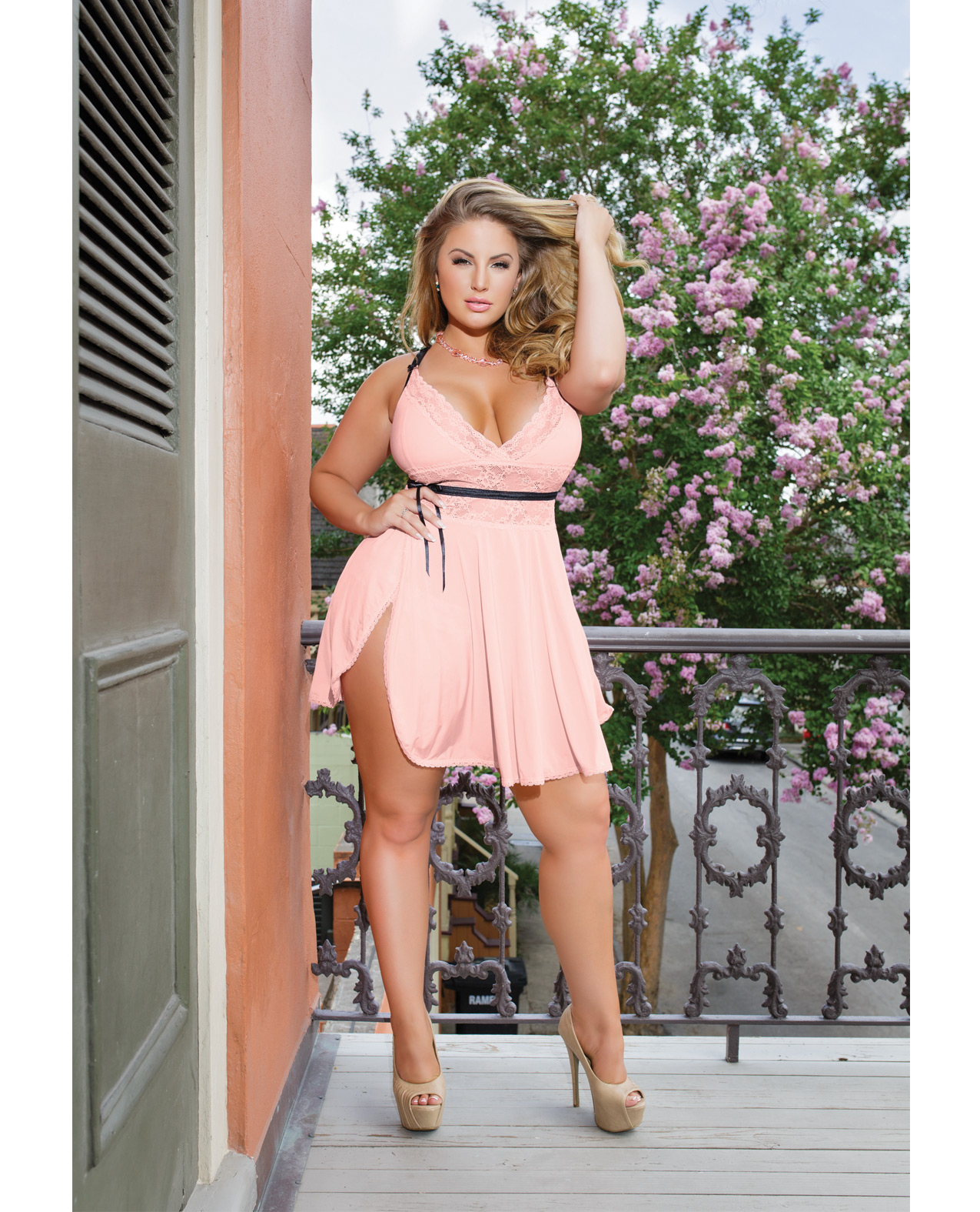 Peach Microfiber & Lace Babydoll Queen