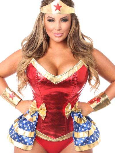 Superhero Premium Corset Costume Close Up