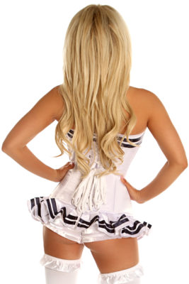 White Navy Officer Overbust Premium Corset Close Up Back