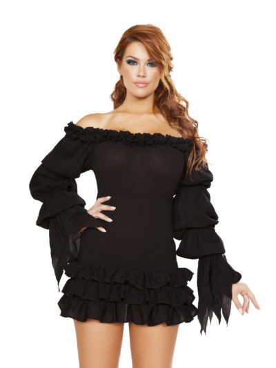 Ruffled Pirate Dress Black