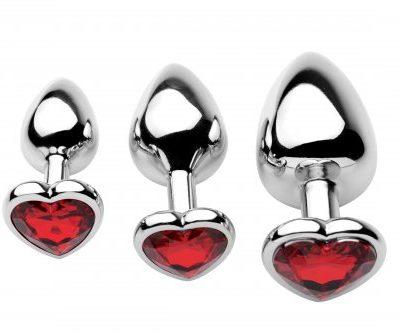 3 Piece Scarlet Heart Jeweled Anal Plug Top View