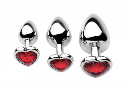 3 Piece Scarlet Heart Jeweled Anal Plug Top View