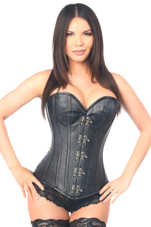 Black Faux Leather Clasped Steel Boned Corset Close Up