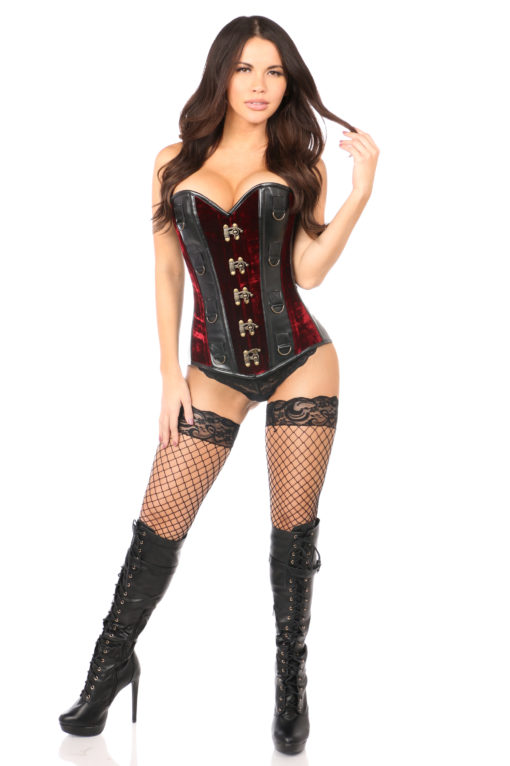 Red Velvet & Faux Leather Steel Boned Corset