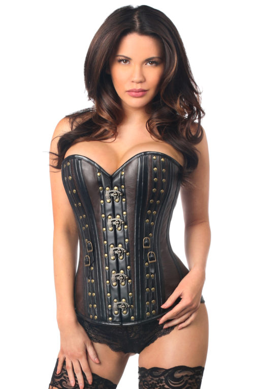 Steampunk Faux Leather Steel Boned Corset Close Up
