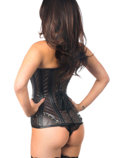 Steampunk Faux Leather Steel Boned Corset Close Up Back