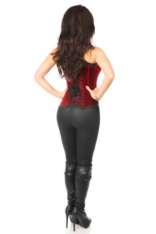 Steel Boned Red Velvet Underbust Corset With Buckling Back