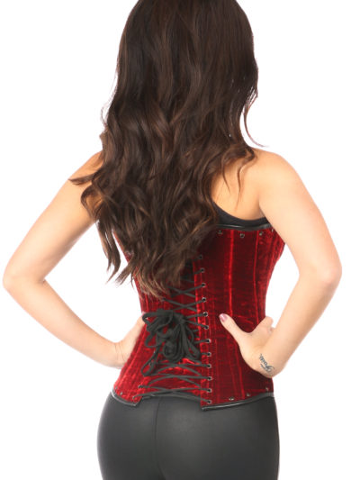Steel Boned Red Velvet Underbust Corset With Buckling Close Up Back