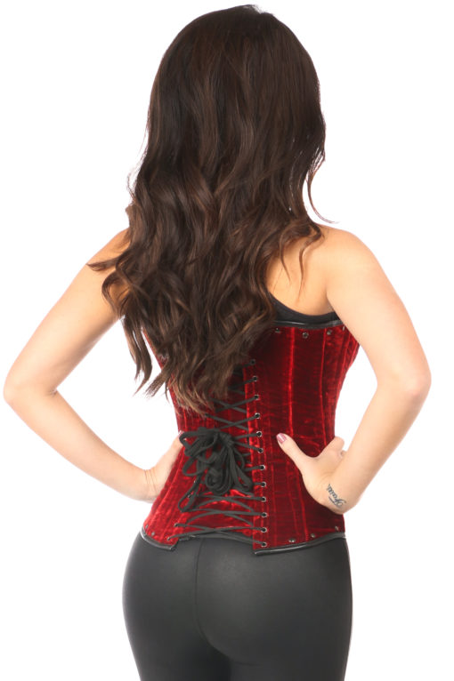 Steel Boned Red Velvet Underbust Corset With Buckling Close Up Back
