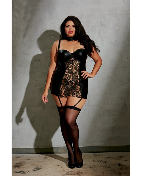 Stretch Knit Mesh & Lace Collared Dress Queen