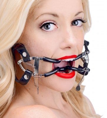 Ratchet Style Strapped Mouth Gag With Female Model