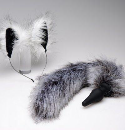 Grey Wolf Ears & Tail Set