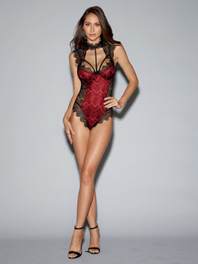 Collared Red Satin Teddy
