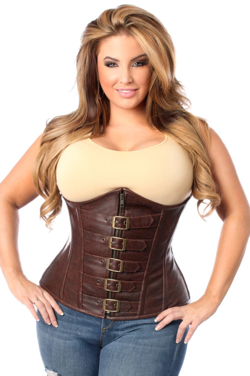 Distressed Faux Leather Buckle Underbust Corset Close Up